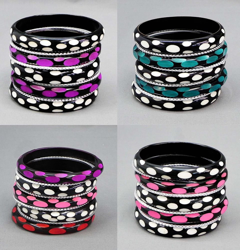 9pc Bangles Bracelets Teal Pink Purple Silver Black Polka Dot Bangles 7 3/4
