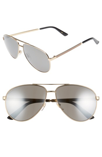 Gucci 61mm Polarized Aviator Sunglasses | Nordstrom
