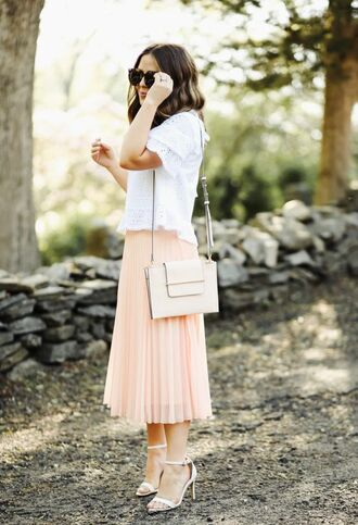 skirt top white bag tumblr midi skirt pleated pleated skirt sandals sandal heels white sandals sunglasses bag shoes