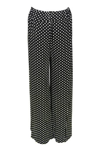 Shelley Dot Wide Leg Palazzo Trouser in Black - Pop Couture
