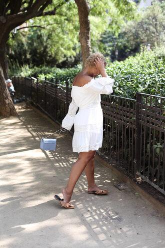 fashionably lo blogger dress bag sunglasses slippers blue bag white dress summer dress