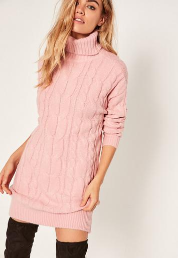 Missguided - Pink Brushed Cable Knitted Turtleneck Sweater Dress