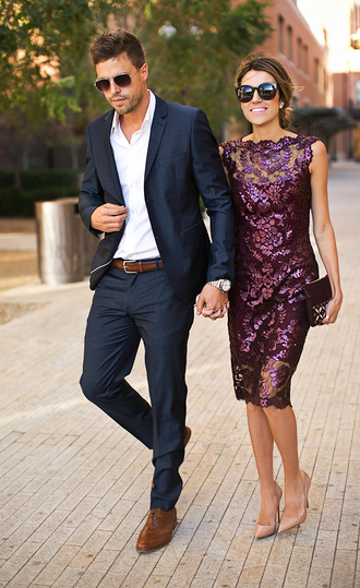 hello fashion blogger sunglasses jewels purple dress lace dress mens suit mens belt embellished bag shirt dress burgundy clutch fall wedding guest wedding guest midi dress bodycon dress burgundy dress pumps nude pumps bag clutch menswear mens shoes mens shirt black sunglasses