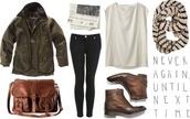 bag,brown,leather,vintage,shoes,scarf,blouse,jacket