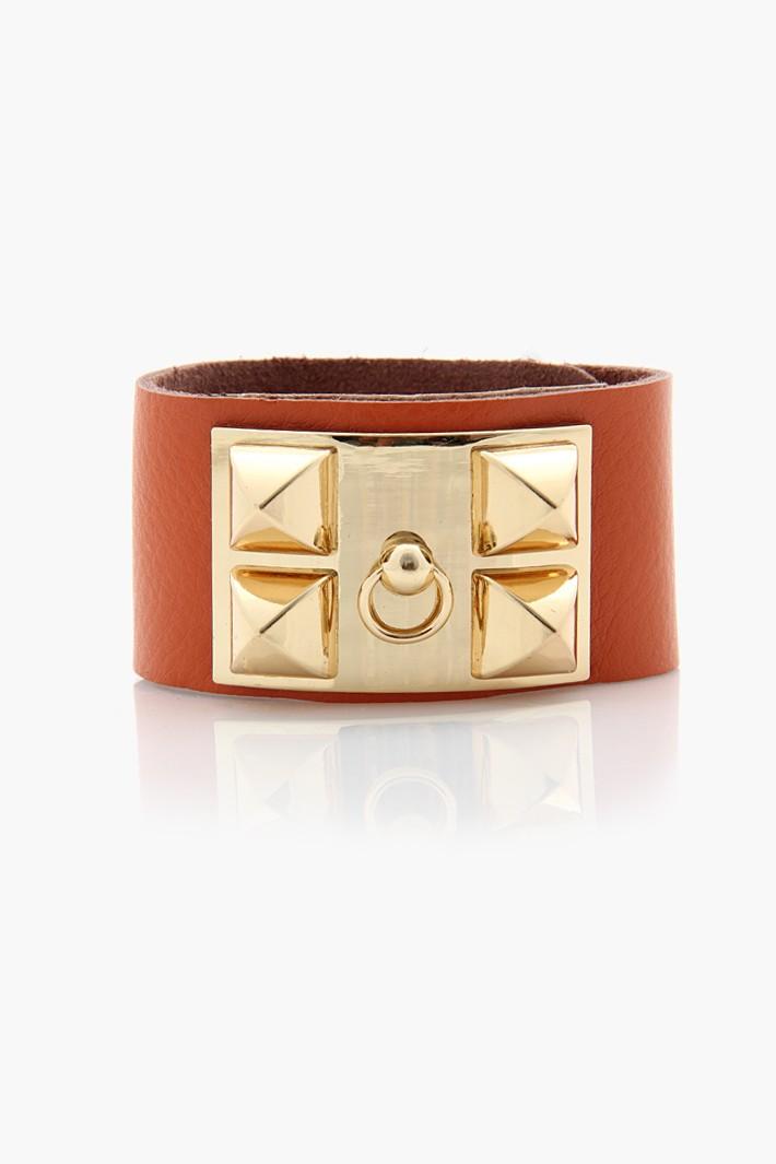 Designer Look Plate leather Bracelet - Orange