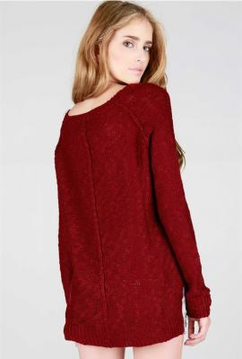 Comfort habits simple knit sweater in maroon