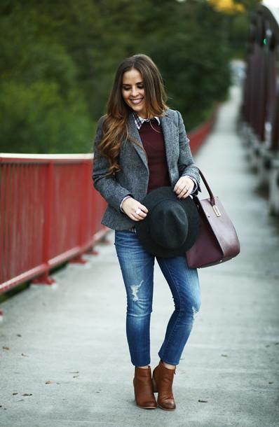 a0be0da9c76 dress corilynn blogger fall outfits burgundy burgundy sweater ripped jeans  blazer