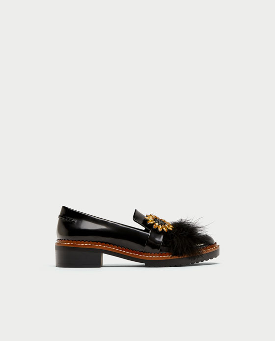 f6a75a2e6a BEJEWELLED LOAFERS WITH FEATHER DETAIL - View all-SHOES-WOMAN | ZARA  Macedonia