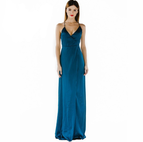 604136f1c61 dress maxi blue evening outfits girly occasion date outfit silk satin cute  long amazing prom