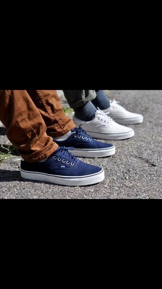 shoes vans sneakers blue shoes white shoes menswear