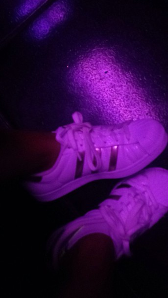 shoes adidas adidas superstars gold purple white
