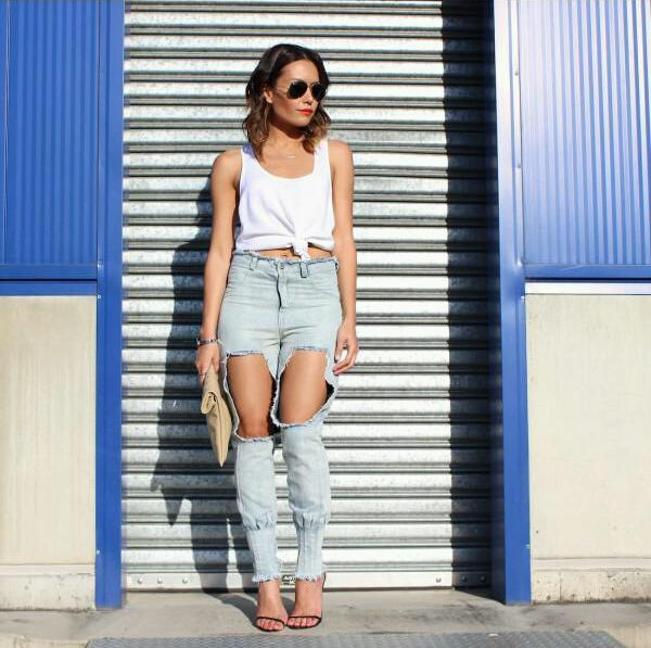 Lethalbeauty ? cut out destroyed hole high waist skinny jeans