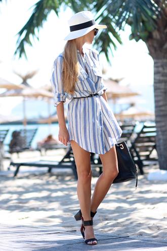 sirma markova blogger bag sunglasses belt shirt dress shoes hat