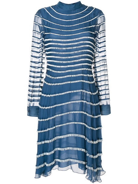 Valentino dress fringed dress women spandex cotton blue silk
