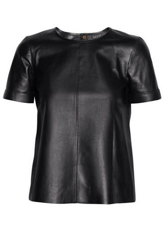 shirt leather shirt faux leather shirt t-shirt leather t-shirt black blouse