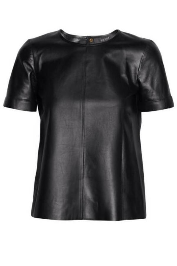shirt leather shirt faux leather shirt t-shirt leather t-shirt black blouse