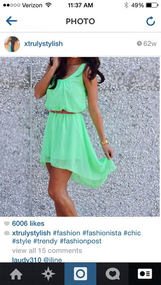 green dress dress cute dress high low dresses summer dress belted dress