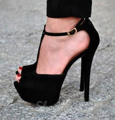 1d7e5e235b Sexy Black Suede PeepToe Ankle Strap High Heel Sandals