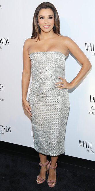 dress silver midi dress strapless sandals eva longoria bustier bustier dress shoes