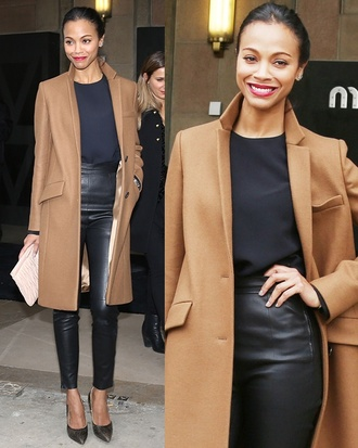 camel coat camel zoe saldana winter coat winter outfits fall outfits coat wool coat
