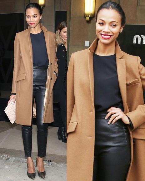 zoe saldana camel coat camel winter coat long coat winter outfits winter fashion fall outfits