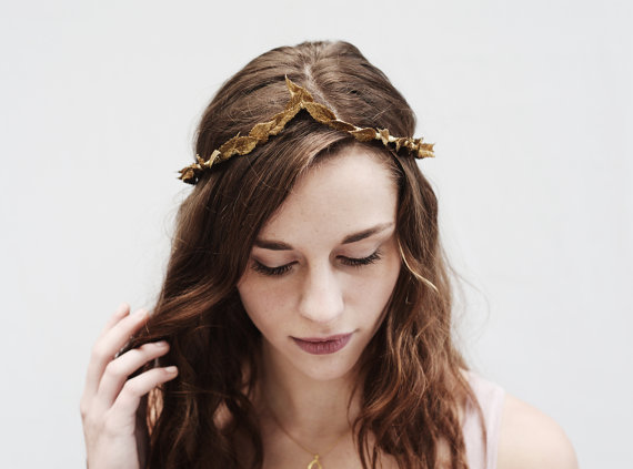 Thin Gold Leaf Crown Arched Greek Goddess by BloomDesignStudio