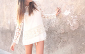 dress,white lace dress,white dress,white lace,long sleeves,long sleeve lace dress,lace sleeves
