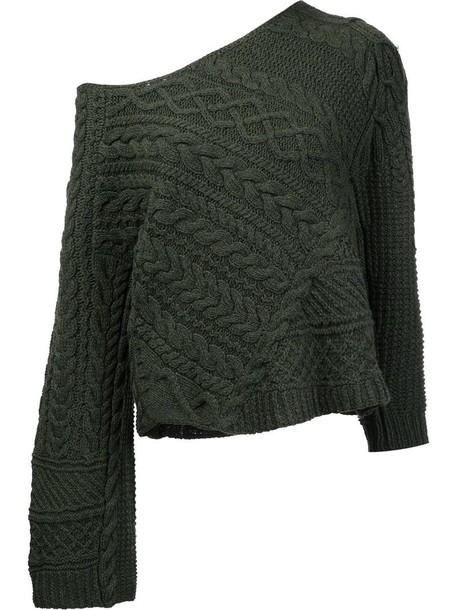Baja East off-shoulder cable knit jumper, Women's, Size: 1, Green ...