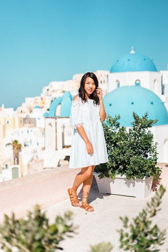 refined couture blogger dress shoes white dress off the shoulder dress off the shoulder three-quarter sleeves short dress summer summer outfits summer dress sandals flat sandals gladiators brown sandals