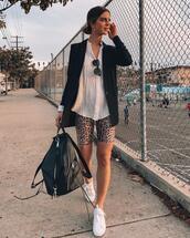 take aim,blogger,jacket,pants,bag,shoes,fall outfits,backpack,blazer,sports shorts