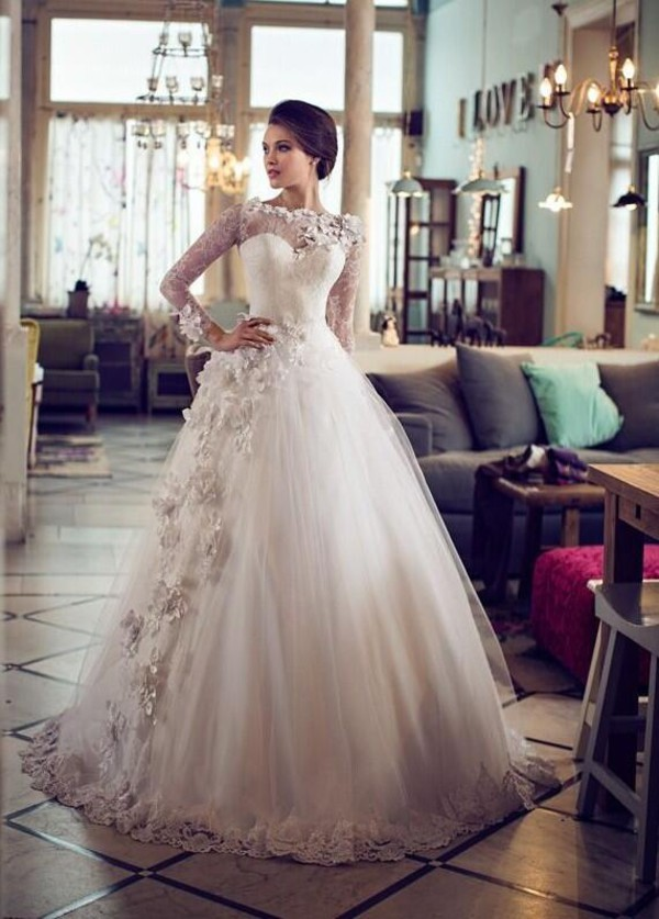 dress wedding dress flowers wedding lace