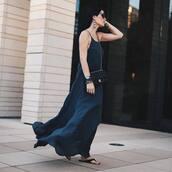 dress,tumblr,navy,navy dress,slip dress,maxi dress,long dress,shoes,flat sandals,sandals,bag