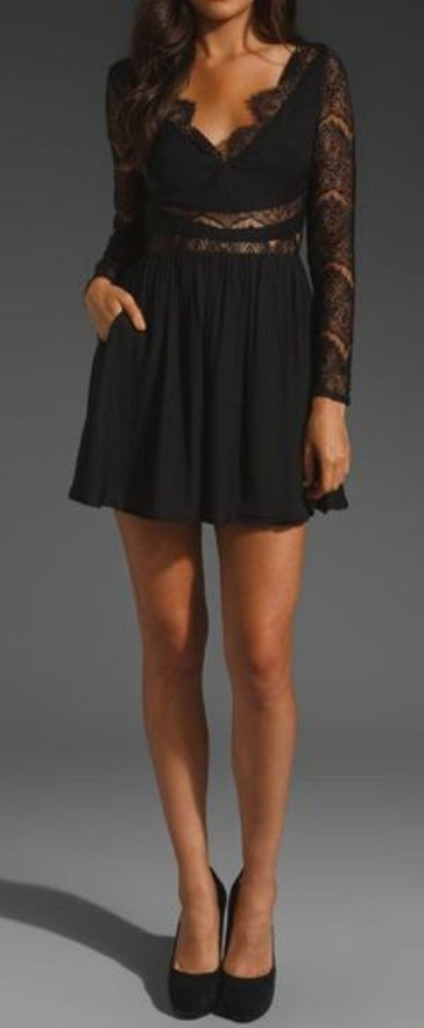 dress black lace little black dress long sleeve dress