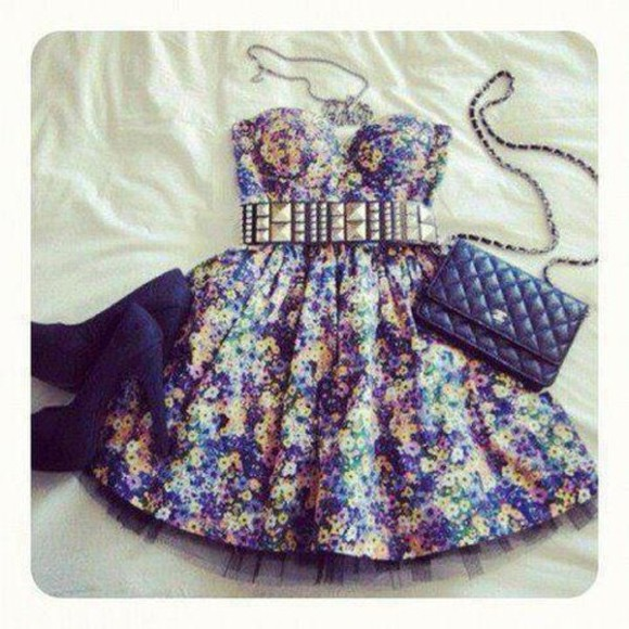 dress floral dress floral summer dress floral print dress blue yellow purple purple floral yellow floral blue floral spring dress black belt black heels