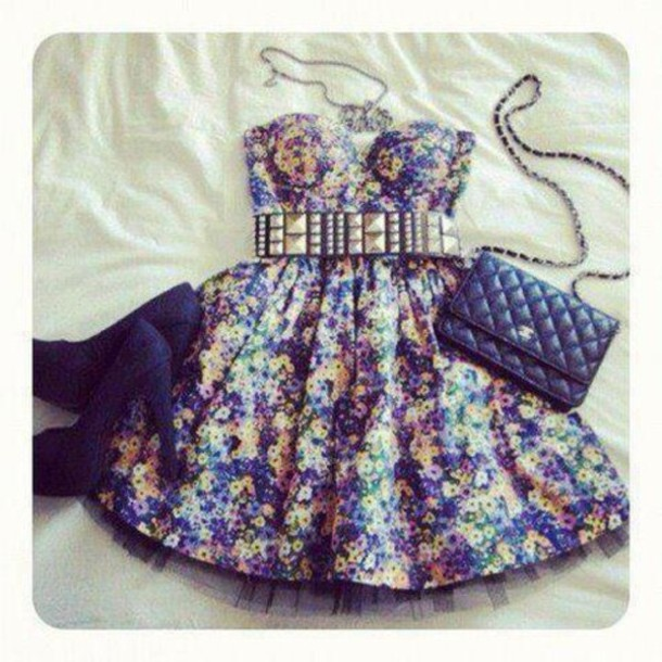 Dress: floral, blue, yellow, purple, purple floral, yellow floral ...