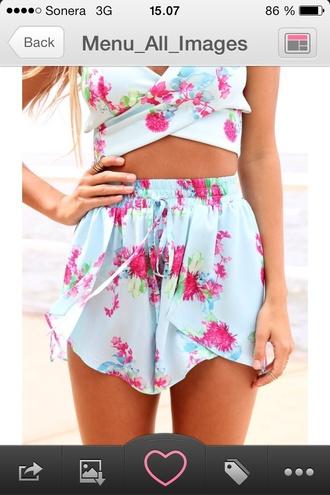 shorts floral shorts beach wear floral top turcose pink flowers summer wear