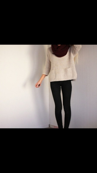 white top burgandy scarf strippedsweater ridding boots red scarf