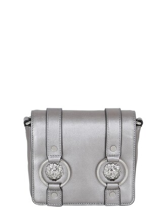 bag shoulder bag leather silver black