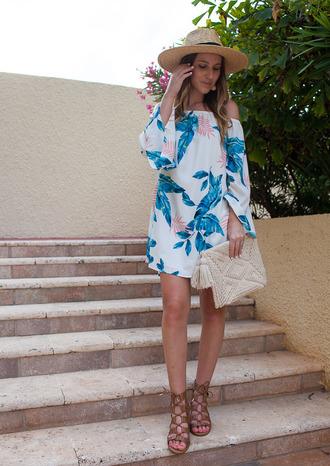 twenties girl style blogger dress bag shoes hat jewels straw hat mini dress off the shoulder dress summer dress clutch sandals