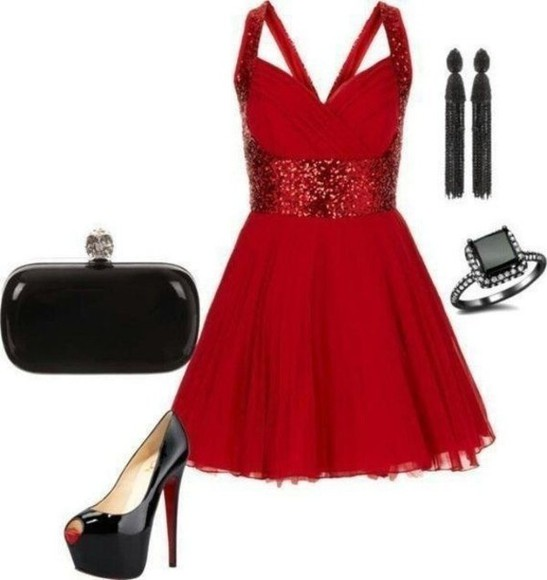 dress cross back red sparkles homecoming crossback
