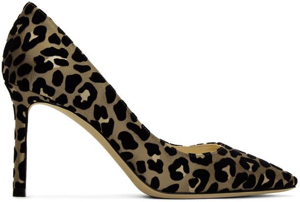 Jimmy Choo tan heels black shoes
