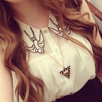 blouse shirt birds collar white