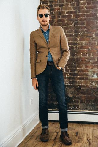 stay classic blogger jacket shirt dress pants jeans shoes jewels sunglasses