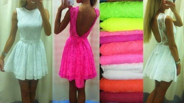 dress neon neon pink lace lace dress white dress