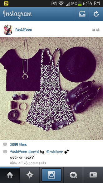 shorts overalls pattern overalls tribal pattern fashion instagram clothes jewels sunglasses