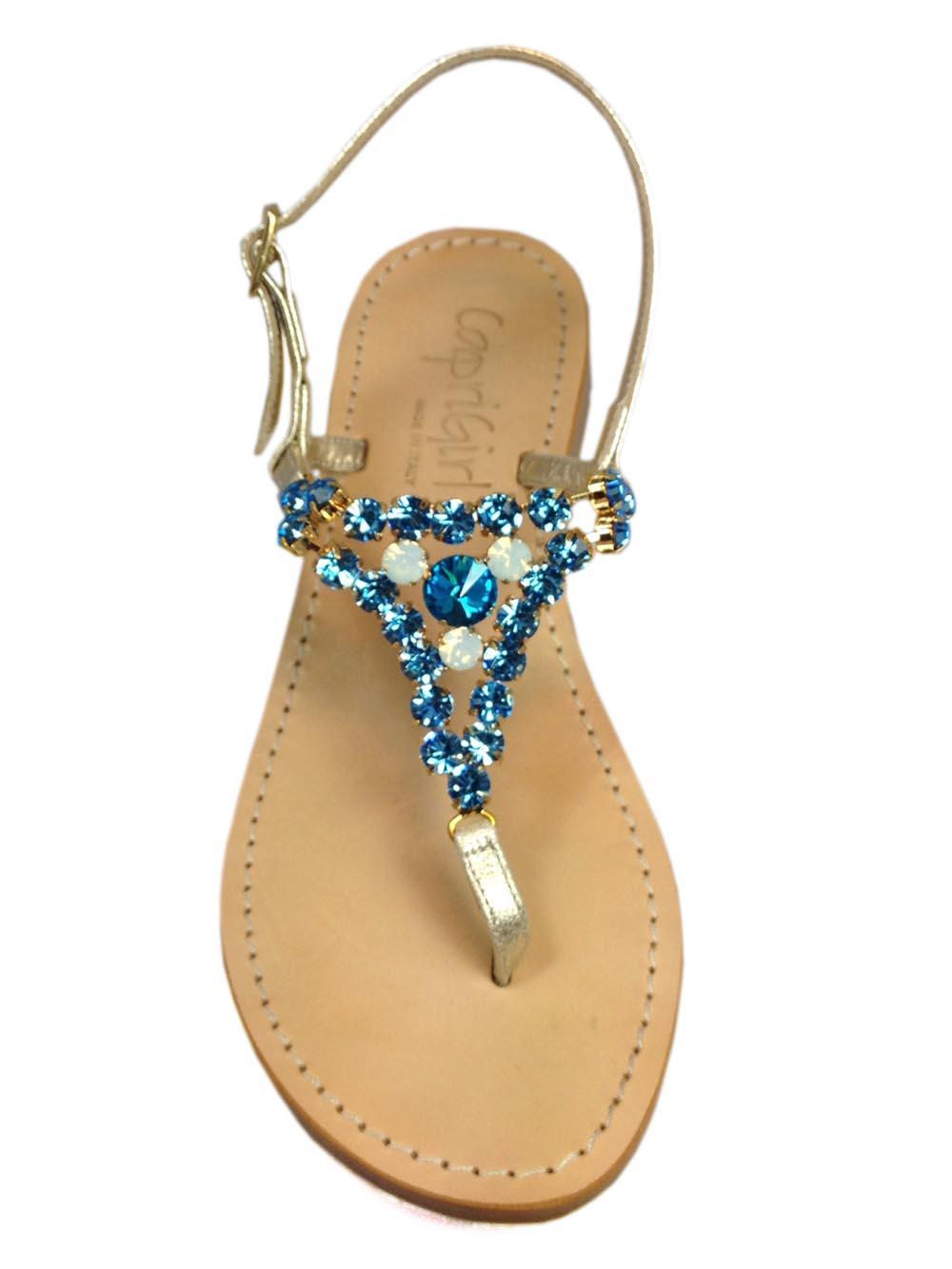 9be6cf865 Jeweled Sandals l Shop Jeweled Sandals at Capri Girl Isabella Blue Jeweled  Sandals