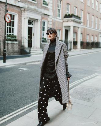 pants tumblr wide-leg pants polka dots top black top coat grey coat long coat grey long coat sunglasses