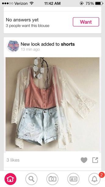 cardigan shorts shirt hair accessory