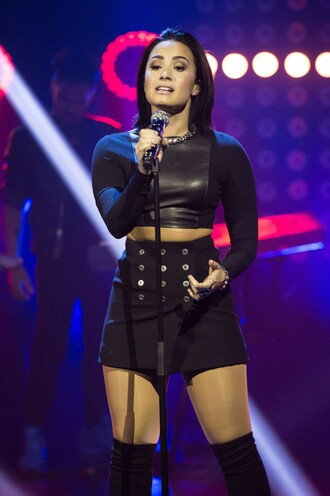 skirt demi lovato mini skirt all black everything