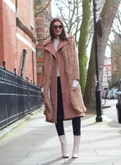 jeans,peexo,blogger,fur scarf,dusty pink,wool coat,patent shoes,white boots,pink coat,winter coat,topshop,patent boots,vest,faux fur vest,sunglasses,turtleneck,white turtleneck,beige fur vest